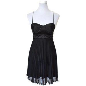 Black Sweetheart Pleated Chiffon Bustier Dress
